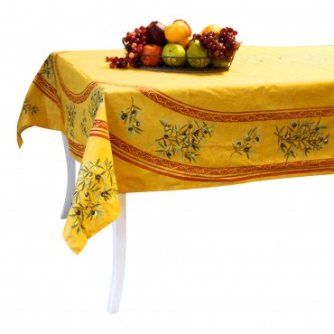 "Provence Tablecloth - ""Olive tree"" - Yellow - Rectangular 98"" x 63"" - 100% cotton - Made in France -"