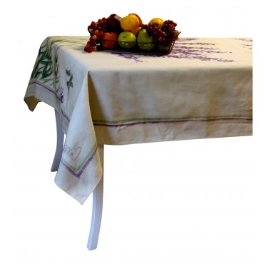 "Provence Tablecloth - ""Lavender"" - Beige - Rectangular 98"" x 63"" - 100% twill cotton - Made in France -"
