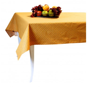 "Provence Tablecloth - Esterel -  Orange / blue flowers - Rectangular 98"" x 63"" - 100% cotton - Made in France -"