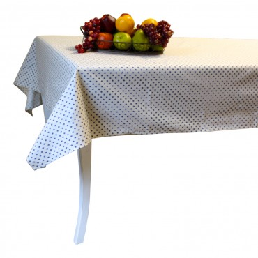 "Provence Tablecloth - Esterel -  Ivory / blue flowers - Rectangular 98"" x 63"" - 100% cotton - Made in France -"