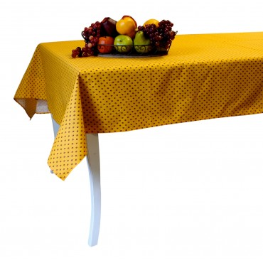 "Provence Tablecloth - Esterel -  Orange with red flowers - Rectangular 98"" x 63"" - 100% cotton - Made in France -"