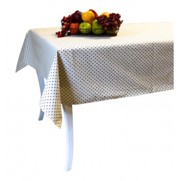 "Provence Tablecloth - Esterel -  Ivory / red flowers  - Rectangular 98"" x 63"" - 100% cotton - Made in France -"