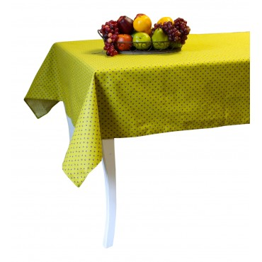 "Provence Tablecloth - Esterel -  Dark lime green - Square 63"" x 63"" - 100% cotton - Made in France -"