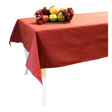 "Provence Tablecloth - Esterel -  Dark red  - Square 63"" x 63"" - 100% cotton - Made in France -"