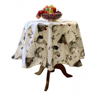 "French Tablecloth - ""Rooster and Hen"" - Beige -  Round 63"" - 100% coated cotton - Made in France -"