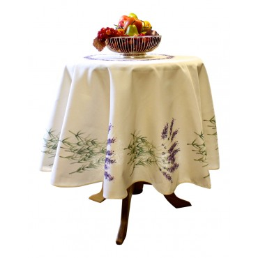 "Provence Tablecloth - ""Lavender"" - Beige - Round 63"" - 100% twill cotton - Made in France -"