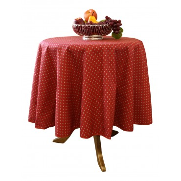 "Provence Tablecloth - Esterel -  Dark red  - Round 63"" - 100% cotton - Made in France -"