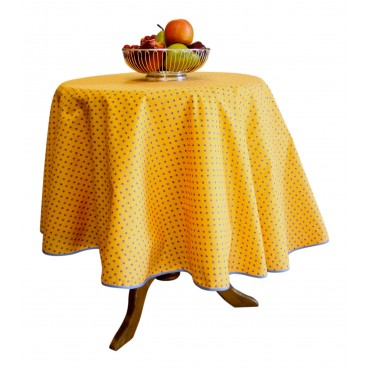 "Provence Tablecloth - Esterel -  Orange / blue flowers - Round 63"" - 100% cotton - Made in France -"