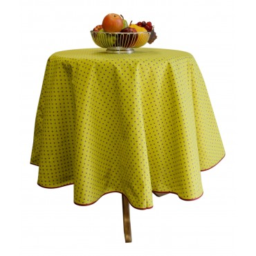 "Provence Tablecloth - Esterel -  Dark lime green - Round 63"" - 100% cotton - Made in France -"