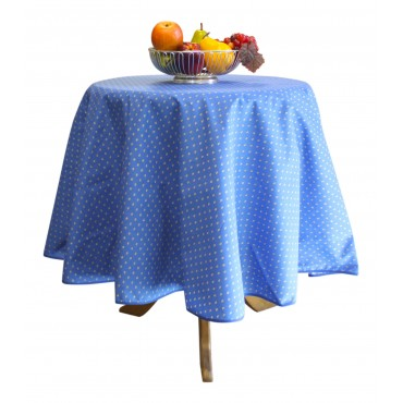 "Provence Tablecloth - Esterel -  Navy blue - Round 63"" - 100% cotton - Made in France -"