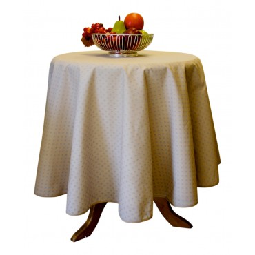 "Provence Tablecloth - Esterel -  Beige - Round 63"" - 100% cotton - Made in France -"