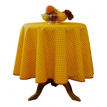 "Provence Tablecloth - Esterel -  Orange with red flowers - Round 63"" - 100% cotton - Made in France -"