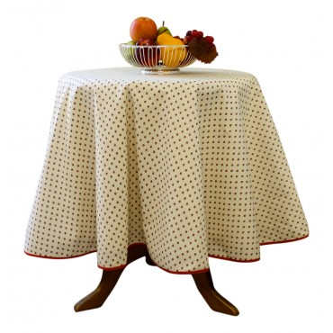 "Provence Tablecloth - Esterel -  Ivory with red flowers - Round 63"" - 100% cotton - Made in France -"