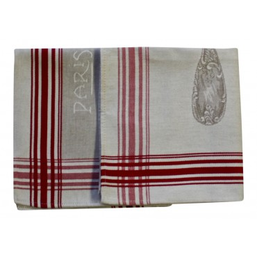 Paris Kitchen Towels - Set of 2 - Paris Eiffel Tower - Made in France