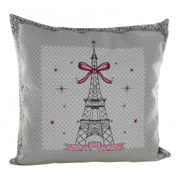 "Decorative Pillow Cover - Mademoiselle Eiffel Tower - 16"" x 16"" -  Made in France"
