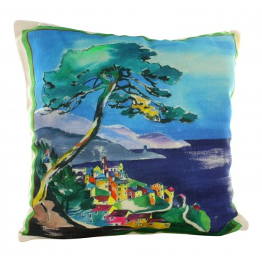 "Provence Decorative Pillow Cover - Provence Village - 16"" x 16"" -  Made in France"