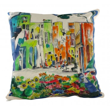 "Provence Decorative Pillow Cover - Provence Flowers market - 16"" x 16"" -  Made in France"