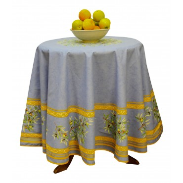 "Provence Tablecloth - ""Olive tree"" - Blue - Round 63"" - 100% coated cotton - Made in France -"