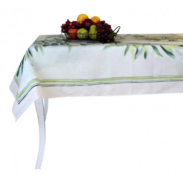 "Provence Tablecloth - ""Olive"" - Beige - Rectangular 98"" x 63"" - 100% twill cotton - Made in France -"