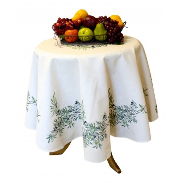 "Provence Tablecloth - ""Olive"" - Beige - Round 63"" - 100% twill cotton - Made in France -"