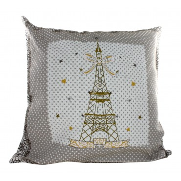 "Decorative Pillow Cover - Mademoiselle Eiffel Tower- Gold - 16"" x 16"" -  Made in France"