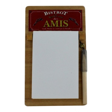 French Vintage Notepad holder with pencil - wood - Bistrot des Amis