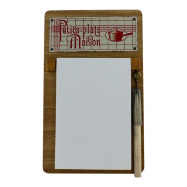 French Vintage Notepad holder with pencil - wood - Petits plats Maison