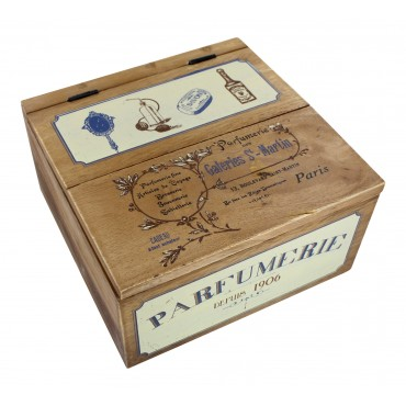 French vintage wooden decorative box - Parfumerie Paris - square -
