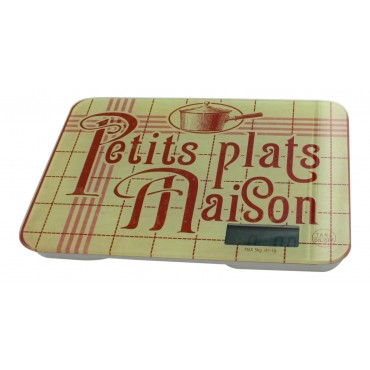 "Digital Kitchen and food scale, French vintage design ""Petits Plats maison"""