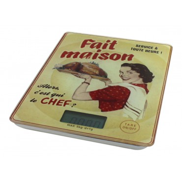 "Digital Kitchen and food scale, French vintage design ""Fait maison"""
