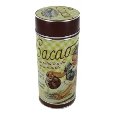 "Tin jar with adjustable lid, French vintage design ""Cacao"""