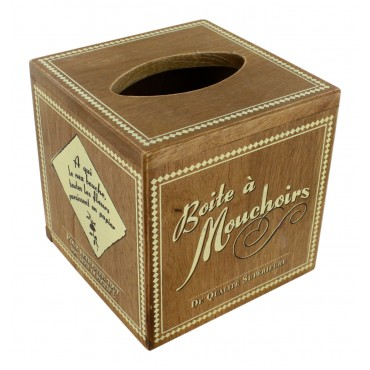 """Wood tissue box holder, square, French vintage design """"Boite a mouchoirs"""""""