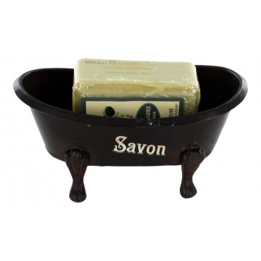 "French Vintage Soap Dish - old bathtub style - ""Savon"" - dark brown - with a sandalwood scented Marseille  soap"
