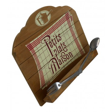 "Wooden cookbook holder, French vintage design ""Petits plats maison"""