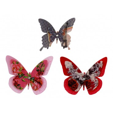 Set of 3 bright artificial butterflies on clip
