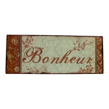"Metal Sign, French vintage design ""Bonheur""   15.5"" x 6"""