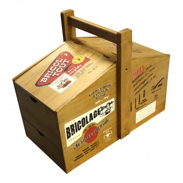 """Wooden toolbox, French vintage design """"Bricol' tout"""""""