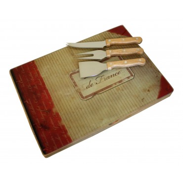 "Cheese board with tool set, French vintage design ""Terroirs de France"""