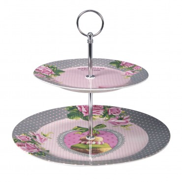 "2 Tier Cake Stand - French Vintage Design ""Merveilles De Paris"""