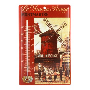 "Tin thermometer, French Vintage design ""Moulin Rouge Montmartre"" , 9"" x 6"""