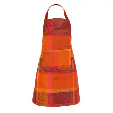 "French Apron - Jacquard - Stain resistant - orange and red - 30""x33"""
