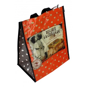 "Reusable 6 wine bottle Bag, French vintage design ""Biscuit a la cuillere"""
