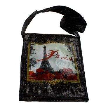 "Reusable small shoulder shopping Bag, French vintage design ""Paris"""