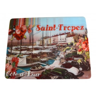 "Set of 6 rectangular plastic place mats, washable, French vintage design "" Saint-Tropez Cote d'Azur"""