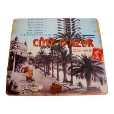 "Set of 6 rectangular plastic place mats, washable, French vintage design "" Cannes Cote d'Azur"""