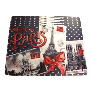 "Set of 6 rectangular plastic placemats, washable, French vintage design ""Paris Souvenir"""