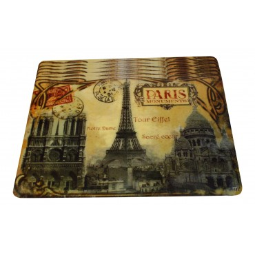 "Set of 6 rectangular plastic place mats, washable, French vintage design ""Paris Monuments"""