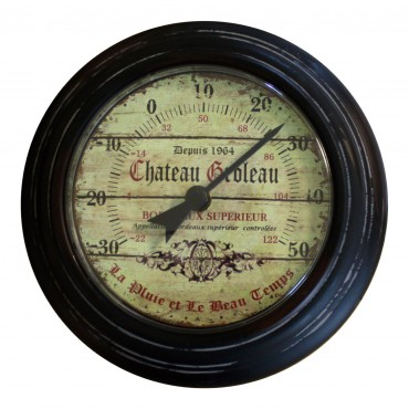 "Round thermometer, French Vintage design ""Chateau Groleau"""
