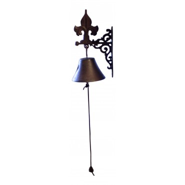 "Wall mounted Antique Style Bell, French design ""Fleur de Lys"""