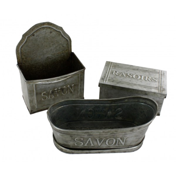3 piece bathroom accessory set zinc french vintage for Vintage bathroom accessories